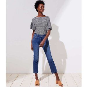 The Loft Release Hem Straight Crop High Rise Jeans